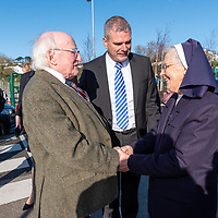 President Higgins is welcomed to Kinsale Community School by Principal Fergal McCarthy and the Chairperson of the Board of Management Sr Rita Twomey.<br /> Picture. John Allen