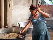 Master dyer Juana Gutierrez Contreras prepares wool for dyeing in the Zapotec weaving village of Teotitlan del Valle in Oaxaca, Mexico on 27 November 2018. The wool is boiled for three hours in water with potassium alum, a mordant which opens up the fibre to absorb the colour