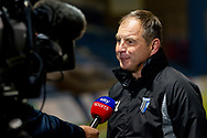 Gillingham FC manager Steve Lovell being interviewed by Sky Sports after the The FA Cup 3rd round match between Gillingham and Cardiff City at the MEMS Priestfield Stadium, Gillingham, England on 5 January 2019. Photo by Martin Cole.