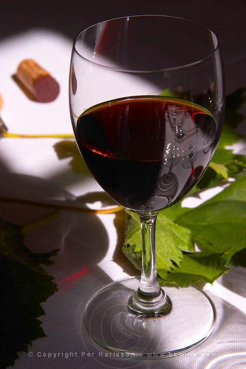 A glass of red wine chateau Belair on a white table cloth with a cork and vine leaves in the background in the dining room salon of chateau Belair in haut Medoc Bordeaux a ray of sunshine sunray lighting up the glass and table Credit BKWine.com Per Karlsson