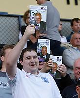 Photo: Steve Bond/Richard Lane Photography. Nottingham County v Nottigham Forest. Pre season Friendly. 25/07/2009. County fans with Sven-Goran Eriksson on the programme