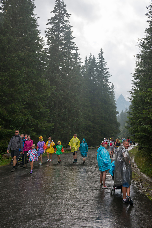 Adults and children hike in the rain along the 9-kilometer paved route between Polana Palenica and Morskie Oko, a famous lake located within Poland's Tatra National Park. The jagged 2,068-meter high peak in the distance is Mnich.