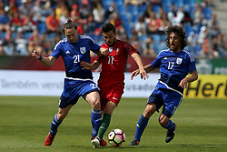 June 3, 2017 - Lisbon, Portugal - Portugal's forward Bernardo Silva fights for the ball with Cypruss Forward Andreas Makris (L) and Cypruss midfielder Renato Margaca (R ) during the friendly football match Portugal vs Cyprus at Antonio Coimbra da Mota Stadium in Estoril, outskirts of Lisbon, Portugal on June 3, 2017. (Credit Image: © Pedro Fiuza/NurPhoto via ZUMA Press)