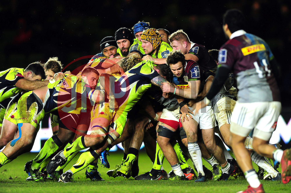 Sale Sharks forwards drive the ball towards the Harlequins try line - Mandatory byline: Patrick Khachfe/JMP - 07966 386802 - 03/02/2017 - RUGBY UNION - The Twickenham Stoop - London, England - Harlequins v Sale Sharks - Anglo-Welsh Cup.