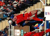 Photo: Ian Hebden.<br />Rushden & Diamonds v Grimsby Town. Coca Cola League 2. 04/03/2006.<br />Rushden's Drewe Broughton (R) battles with Grimsby's Ben Futcher (L).