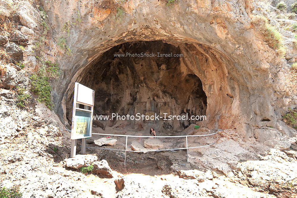 Israel, Carmel Mountain, Nahal Mearot (Cave River) nature reserve containing caves used by prehistoric men for 150 thousand years in three distinct cultures Acheulian culture, Muarian culture and mousterian culture. starting with Homo erectus and ending with Neanderthal.
