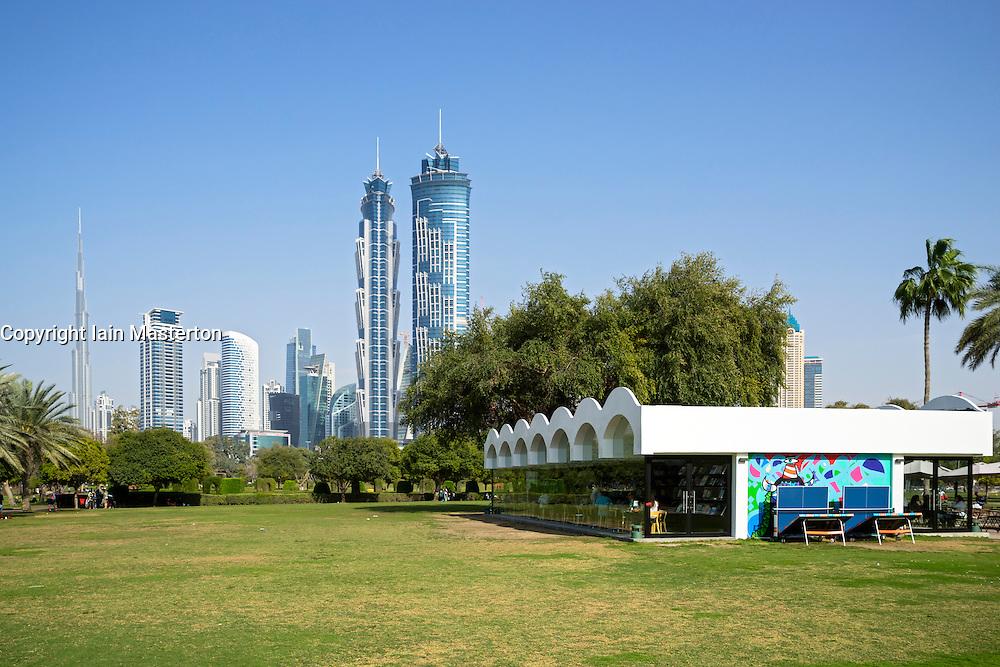Library and cafe pavilion in Al Safa Park in Dubai United Arab Emirates