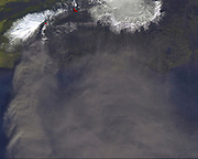 On Monday, April 19, 2010, Image of the continuing eruption of Iceland's Eyjafjallajökull volcano. Monday, April 19, 2010. Satellite image.