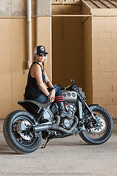 Krystal Hess with the Indian Scout she customized at her Ricochet Customs Texas shop. 2016 ROT (Republic of Texas Rally). Austin, TX, USA. June 11, 2016.  Photography ©2016 Michael Lichter.