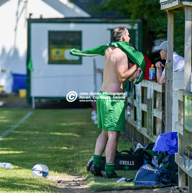Duleek manager, Brian Murphy, getting ready to come on as a sub,   during the Trim Celtic v Duleek, NEFL (Premier) match in Tully Park, Trim.<br /> <br /> Photo: GERRY SHANAHAN-WWW.QUIRKE.IE<br /> <br /> 18-07-2021