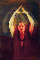 Woman expanding energetically into her aura with her mind on the star.