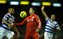10.12.2011, Anfield Stadion, Liverpool, ENG, PL, FC Liverpool vs Queens Park Rangers, 15. Spieltag, im Bild Liverpool's Luis Alberto Suarez Diaz in action against Queens Park Rangers during the Premiership match at Anfield the football match of English premier league, 15th round, between FC Liverpool and Queens Park Rangers at Anfield Stadium, Liverpool, United Kingdom on 2011/12/10. EXPA Pictures © 2011, PhotoCredit: EXPA/ Propagandaphoto/ David Rawcliff..***** ATTENTION - OUT OF ENG, GBR, UK *****