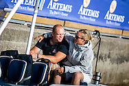The Artemis Challenge at Aberdeen Asset Management Cowes Week 2014. <br /> Zara Phillips and Mike Tindal<br /> FREE for editorial use. Credit: Lloyd Images