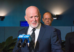 September 13, 2016 - New York, New York, United States - Outside of General Assembly Hall, Peter Thomson President of UNGA 71 greets the press for a Q & A session after the official opening ceremony of the  seventy-first session of the General Assembly at UN Headquarters in New York City. (Credit Image: © Corazon Aguirre/Pacific Press via ZUMA Wire)