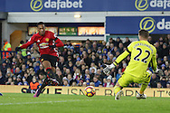 Anthony Martial of Manchester United is through on goal but is flagged offside. Premier league match, Everton v Manchester United at Goodison Park in Liverpool, Merseyside on Sunday 4th December 2016.<br /> pic by Chris Stading, Andrew Orchard sports photography.