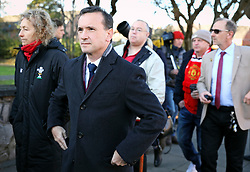 © Licensed to London News Pictures. 01/12/2017. Connah's Quay, UK. Secretary of State for Wales ALUN CAIRNS attends the funeral of Carl Sargeant, who died four days after stepping down from his post in the Welsh Government after unspecified allegations of sexual harassment were made against him. He had denied the allegations. Photo credit: Joel Goodman/LNP