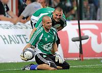 Fotball<br /> Frankrike<br /> Foto: DPPI/Digitalsport<br /> NORWAY ONLY<br /> <br /> FOOTBALL - FRENCH CHAMPIONSHIP 2009/2010 - L1 - AS SAINT ETIENNE v OGC NICE - 8/08/2009<br /> <br /> JEREMY JANOT / VINCENT PLANTE (ASSE)