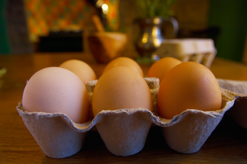 Organic eggs on a country kitchen table
