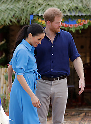 The Duke and Duchess of Sussex during a visit to Tupou College on the second day of the royal couple's visit to Tonga.