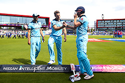 Jonny Bairstow of England is wished good luck by Jos Buttler of England before batting against Afghanistan - Mandatory by-line: Robbie Stephenson/JMP - 18/06/2019 - CRICKET- Old Trafford - Manchester, England - England v Afghanistan - ICC Cricket World Cup 2019 group stage