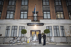 © licensed to London News Pictures. London, UK 03/12/2012. Police officers waiting outside King Edward VII Hospital for Kate and William to leave after a spokesman announced Duchess of Cambridge is pregnant. Photo credit: Tolga Akmen/LNP