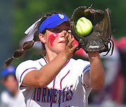 Nashville second baseman Daphne Kollbaum catches a Freeburg infield fly for an out. Freeburg defeated Nashville in the Class 2A sectional softball title game at Nashville High School in Nashville, IL on Thursday June 10, 2021. Tim Vizer/Special to STLhighschoolsports.com.