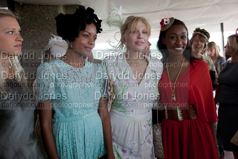 LADY ALEXANDRA GORDON-LENNOX; NAOMI HARRIS; COURTNEY LOVE; BEVERLEY KNIGHT,  IN THE DUKE OF RICHMOND BOX, Glorious Goodwood. Ladies Day. 28 July 2011. <br /> <br />  , -DO NOT ARCHIVE-© Copyright Photograph by Dafydd Jones. 248 Clapham Rd. London SW9 0PZ. Tel 0207 820 0771. www.dafjones.com.