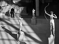 The other sculptures avert their eyes as Diana aims her arrow at an unsuspecting art critic at The Metropolitan Museum of Art, New York City.