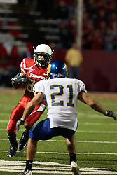 26 September 2009: Tyrone Walker stutters trying to fool Cole Brodie. South Dakota State Jackrabitts jump past the Illinois State Redbirds 38 - 17 at Hancock Stadium on campus of Illinois State University in Normal Illinois