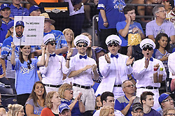 August 7, 2017 - Kansas City, MO, USA - The Melk Men cheer on Kansas City Royals' Melky Cabrera during Monday's baseball game against the St. Louis Cardinals at Kauffman Stadium on Aug. 7, 2017 in Kansas City, Mo. (Credit Image: © John Sleezer/TNS via ZUMA Wire)