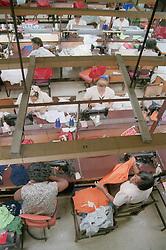 View of women working in clothes factory in Havana; Cuba,