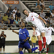 Orlando City Lions Midfielder Ian Fuller (4) heads the ball during a United Soccer League Pro soccer match between the Pittsburgh Riverhounds and the Orlando City Lions at the Florida Citrus Bowl on May 14, 2011 in Orlando, Florida. Orlando won the game 1-0. (AP Photo/Alex Menendez)