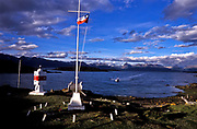 Puerto Navarino on Navarino Island (Chile) on the south side of the Beagle Channel, from where you can see Ushuaia and the rest of the                         Argentine coast line.