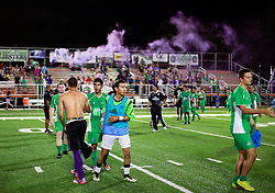 13 June 2015. New Orleans, Louisiana.<br /> National Premier Soccer League. NPSL. <br /> New Orleans Jesters enjoy the win as they take a 3-2 victory against Texas' Premier Soccer League's (TPSL) runner-up, the Houston Hurricanes at home in the Pan American Stadium.<br /> Photo; Charlie Varley/varleypix.com