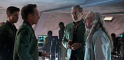 DF-09857 - Gen. Adams (William Fichtner, left) confers with David Levinson (Jeff Goldblum) and scientist Dr. Okun (Brent Spiner). Photo Credit: Claudette Barius.