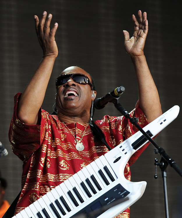 STEVIE WONDER  at Hard Rock  Calling <br /> Hyde Park <br /> No Syndication single use only <br /> Pix Dave Nelson
