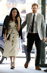 April 18, 2018 - London, United Kingdom - PRINCE HARRY and MEGHAN MARKLE arrive at a reception for the Commonwealth Youth Forum in London, during the Commonwealth Heads of Government Meeting (CHOGM) (Credit Image: © Rota/i-Images via ZUMA Press)