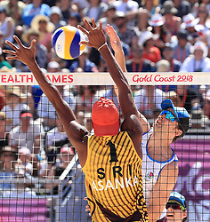 Scotland's Robin Miedzybrodzki (right) and Sri Lanka's Asanka Pradeep in action during the Men's Preliminary - Pool B Beach Volleyball match at Coolangatta Beachfront during day two of the 2018 Commonwealth Games in the Gold Coast, Australia.