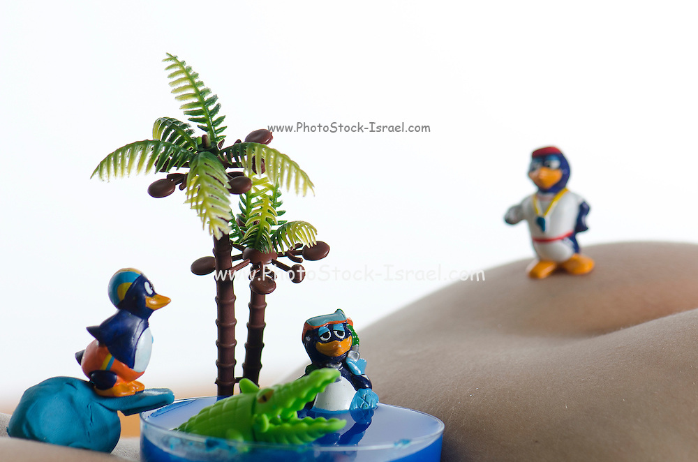 miniature toy penguins in a desert oasis on a woman torso
