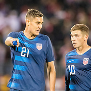 EAST HARTFORD, CONNECTICUT- October 16th:  Aaron Long #21 of the United States and Wil Trapp #20 of the United States in discussion during the United States Vs Peru International Friendly soccer match at Pratt & Whitney Stadium, Rentschler Field on October 16th 2018 in East Hartford, Connecticut. (Photo by Tim Clayton/Corbis via Getty Images)