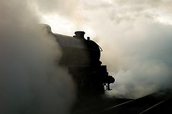 © Licensed to London News Pictures. <br /> 01/10/2016. <br /> Grosmont, UK.  <br /> <br /> A steam locomotive leaves Grosmont station as visitors and steam railway enthusiasts attend the North Yorkshire Moors Railway Autumn Steam Weekend. <br /> The hugely popular railway line runs a service between Pickering and Whitby through the picturesque North yorkshire countryside and attracts thousands of visitors each year. <br /> <br /> Photo credit: Ian Forsyth/LNP