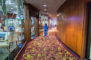 21 AUGUST 2014 - BANGKOK, THAILAND:     A housekeeper cleans a hallway in the Thai Parliament building before the National Legislative Assembly (NLA) met Thursday to select a new Prime Minster. The NLA was hand selected by the Thai junta, formally called the National Council for Peace and Order (NCPO), and is supposed to guide Thailand back to civilian rule after a military coup overthrew the elected government in May. The NLA unanimously selected General Prayuth Chan-ocha, commander of the Thai Armed Forces and leader of the coup in May that deposed the elected civilian government, as Prime Minister. Prayuth is Thailand's 29th Prime Minister since the 1932 coup that created Thailand's constitutional monarchy.  PHOTO BY JACK KURTZ