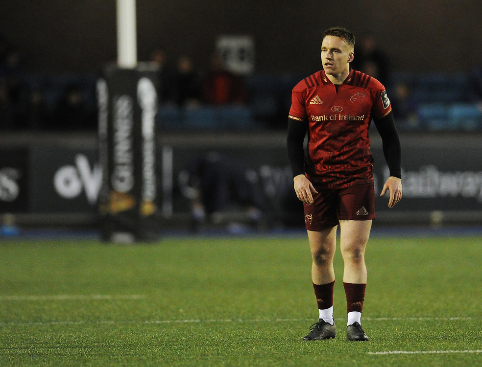 Munster's Rory Scannell<br /> <br /> Photographer Kevin Barnes/CameraSport<br /> <br /> Guinness Pro14 Round 15 - Cardiff Blues v Munster Rugby - Saturday 17th February 2018 - Cardiff Arms Park - Cardiff<br /> <br /> World Copyright © 2018 CameraSport. All rights reserved. 43 Linden Ave. Countesthorpe. Leicester. England. LE8 5PG - Tel: +44 (0) 116 277 4147 - admin@camerasport.com - www.camerasport.com