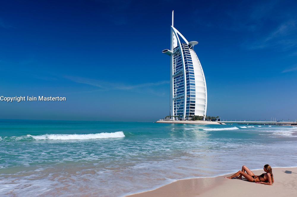 View of Burj al Arab hotel in Dubai in United Arab Emirates