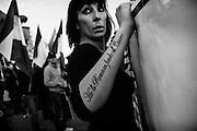 Manifestazione contro il centro di accoglienza nel quartiere periferico dell'Infernetto organizzata dal movimento di estrema destra, Casapound Italia. Roma 22 Novembre 2014.  Christian Mantuano / OneShot