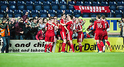 Aberdeen's Vernon celebrates with team mates after after scoring their fifth goal. Falkirk 0 v 5 Aberdeen, the third round of the Scottish League Cup.<br /> ©Michael Schofield.