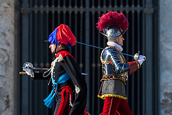 """Pope Francis delivers his traditional Christmas Message and """"Urbi et Orbi"""" Blessing from the balcony of St Peter's basilica at Saint Peter's Square in Vatican City on December 25, 2017. 25 Dec 2017 Pictured: Italian Carabinieri and Pontifical Swiss Guards parade before the arrival of Pope Francis for traditional Christmas Message and """"Urbi et Orbi"""" Blessing at Saint Peter's Square in Vatican City on December 25, 2017. Photo credit: Stefano Costantino / MEGA TheMegaAgency.com +1 888 505 6342"""