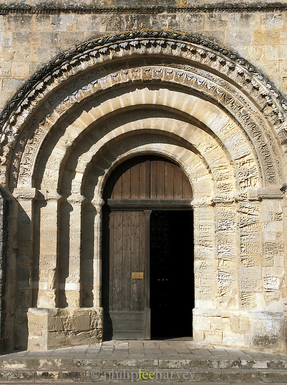 Entrance to a church in the historic town of Saint Emilin, France