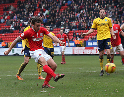 Charlton Athletic's Lawrie Wilson scores his sides first goal - Photo mandatory by-line: Robin White/JMP - Tel: Mobile: 07966 386802 26/12/2013 - SPORT - FOOTBALL - The Valley - Charlton - Charlton Athletic v Brighton and Hove Albion - Sky Bet Championship