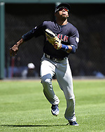 CHICAGO - JUNE 02:  Greg Allen #1 of the Cleveland Indians makes a catch against the Chicago White Sox on June 2, 2019 at Guaranteed Rate Field in Chicago, Illinois.  (Photo by Ron Vesely)  Subject:  Tim Anderson; Greg Allen